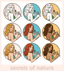 pin-up girl portrait of a circle cut leaves set