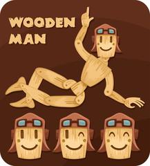 cheerful wooden man set