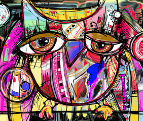 abstract digital painting artwork of doodle owl