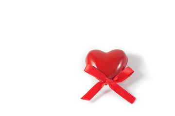 Valentine greeting card with red heart on white background