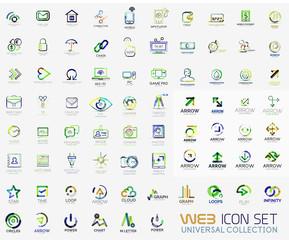 Mega collection of line design web logo icons