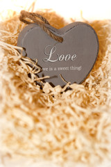 single brown wooden love heart in a love nest