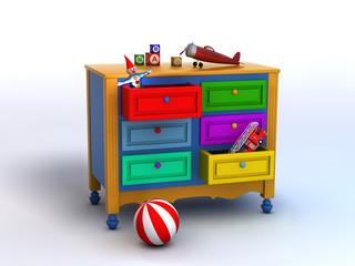 Mueble de colores con juguetes
