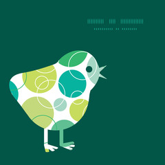 Vector abstract green circles chicken silhouette Easter frame