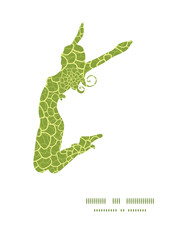 Vector abstract green natural texture jumping girl silhouette