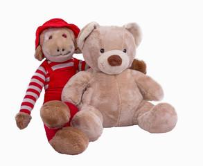 Stuffed Monkey and Teddy Bear