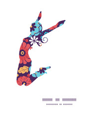 Vector colorful bouquet flowers jumping girl silhouette pattern