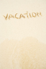 Beach: Vacation Written in Beach Sand