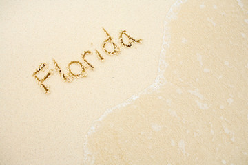 Beach: Florida in Sand with Copyspace