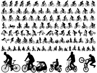 106 high quality bicyclists silhouettes - vector