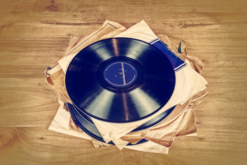 Collection of old vinyl record lp's with sleeves