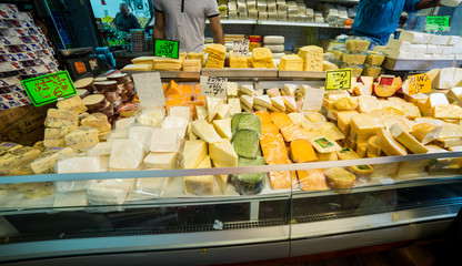 Cheese stand at Carmel market
