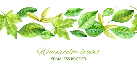 Horizontal seamless background with green leaves. watercolor