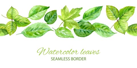 Horizontal seamless background. green leaves. watercolor
