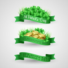 Set of Saint Patrick Day Banner with clover and coins