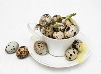 Quail eggs in cup