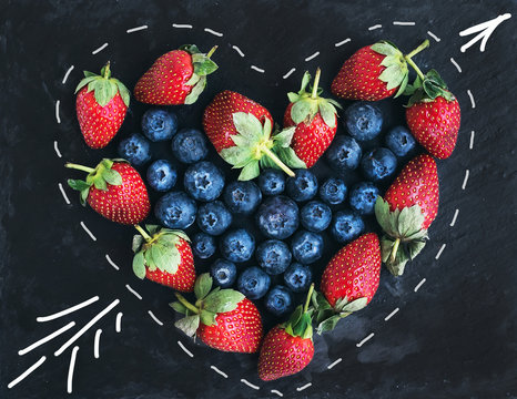 Saint Valentine's day greeting berry set. Straberries
