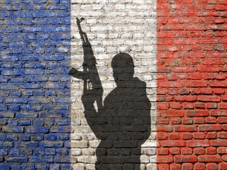 Shadow of man on France flag painted brick wall