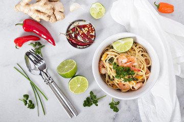 Coconut milk and shrimp asian style pasta