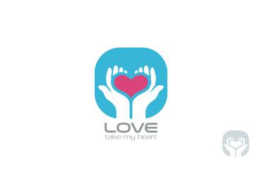Hands holding Heart Logo design vector. Take my Love