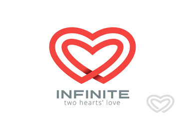 Double Looped Infinity Hearts Logo design vector