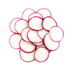 Sliced radishes isolated on white
