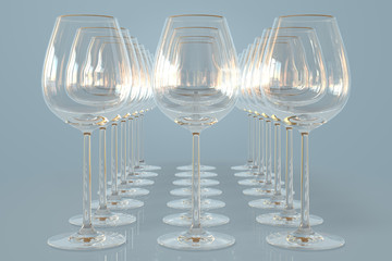 Empty wineglasses on a row