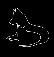 Cat and dog silhouettes logo web vector