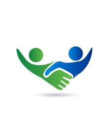 Handshake people in business logo vector