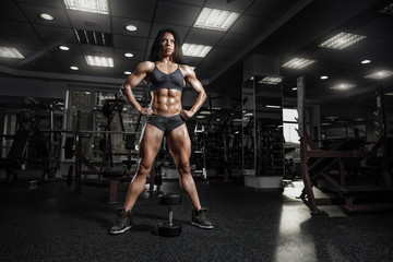 sexy fitness woman in sport wear with perfect fitness body posin