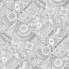 Seamless asian ethnic floral doodle pattern.