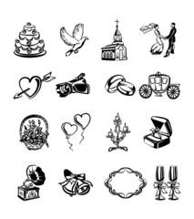 Vector wedding black icon set