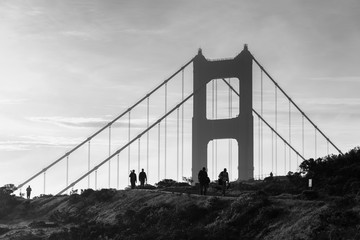 Golden Gate Bridge with morning foggy black and white