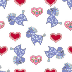 Seamless pattern with cute horse and heart.