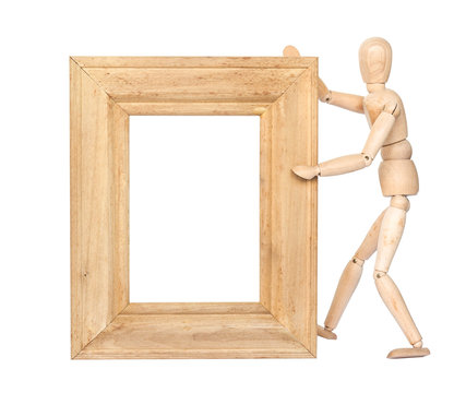 Wooden figure hold blank square wooden frame