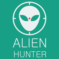 Vector alien hunter on green background