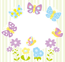 Smiling butterflies and blank space to fill in -vectors
