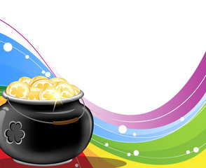 Leprechaun pot of gold on rainbow background