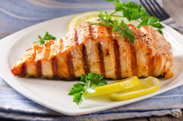 Grilled Salmon with lemon and  herb.