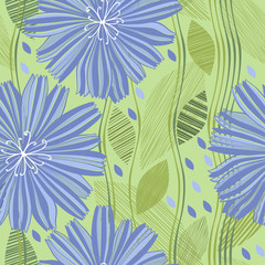 Seamless vector pattern with abstract flowers. Hand-drawn floral