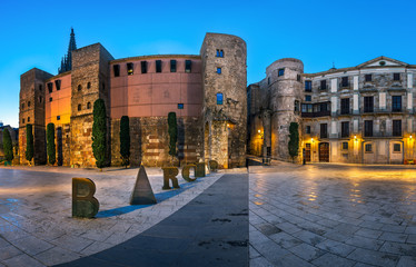 Panorama of Ancient Roman Gate and Placa Nova in the Morning, Ba