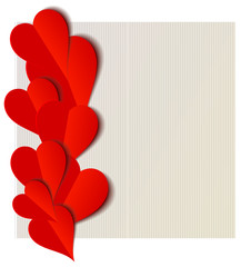 Valentine hearts paper cut out illustration