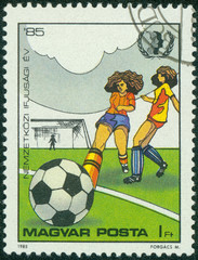 stamp printed in Hungary, shows Women Footballers
