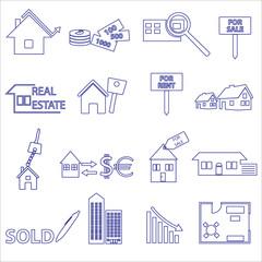 blue real estate outline icons and symbols set eps10