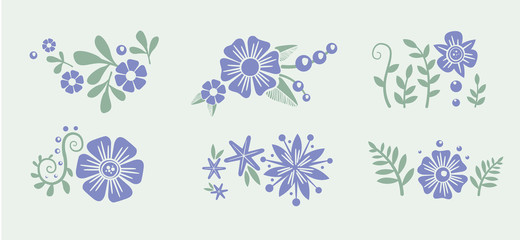Number eight 8 of flowers. Sketch element for international