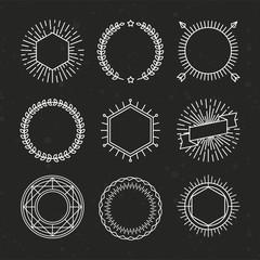 Vector set of outline emblems and badges
