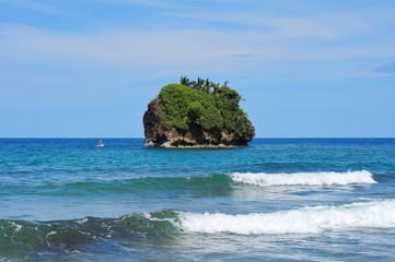 Small rocky island Caribbean coast of Costa Rica