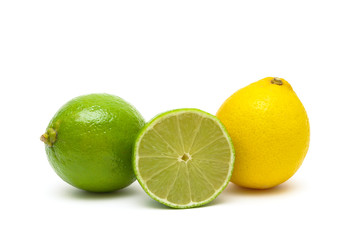 lime and lemon isolated on a white background close-up