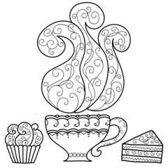 Hand drawn cup of coffee and cakes