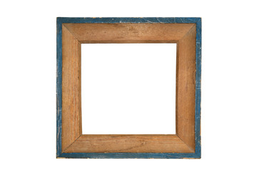 Vintage wooden picture frame with blue edges